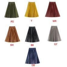 Falda larga Midi plisada acampanada de cuero de imitación Vintage para mujer falda de cintura alta de Color sólido de viaje Casual para mujer