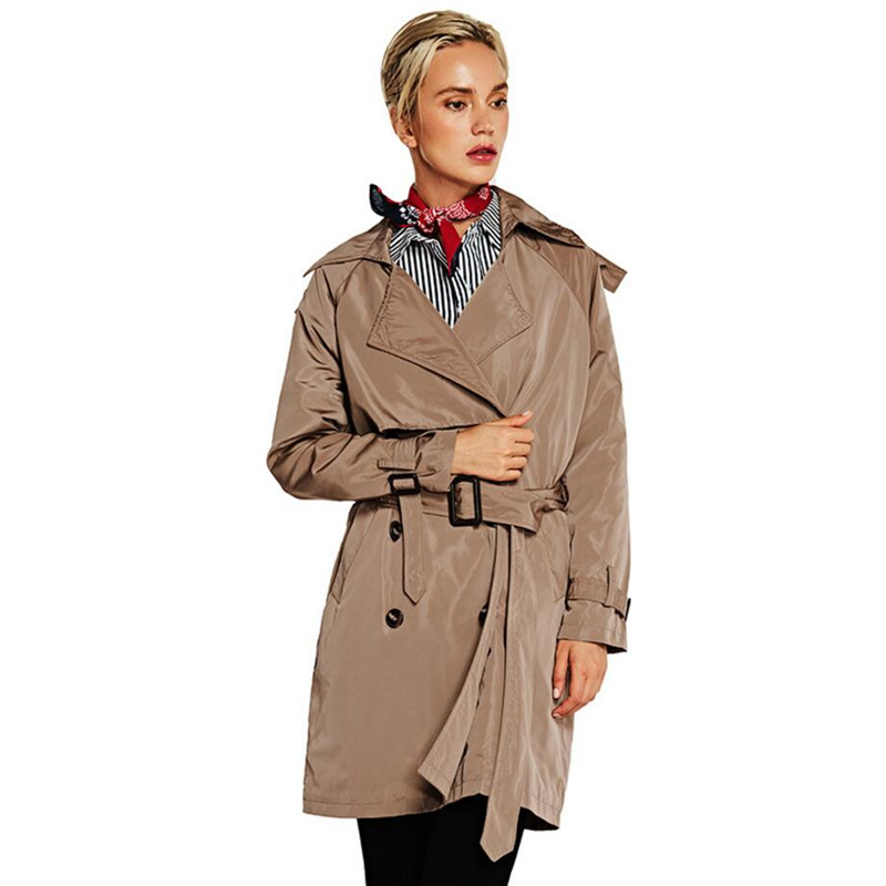 Autumn 2019 Korean Fashion Double Breasted Mid-long   Trench   Coat Mujer Loose Belt Windbreak Outwear high quality   Trench