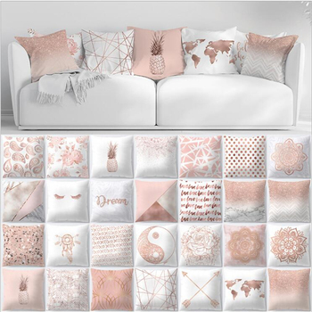 Geometric Polyester Pink Nordic Square Pillow Cover Decorative Sofa Cushion Cover 45*45cm Pillow Cases Home Decor cute kitten cushion cover 45cm x 45cm cotton linen square home decorative sleeping cat throw pillow case sofa car office decor