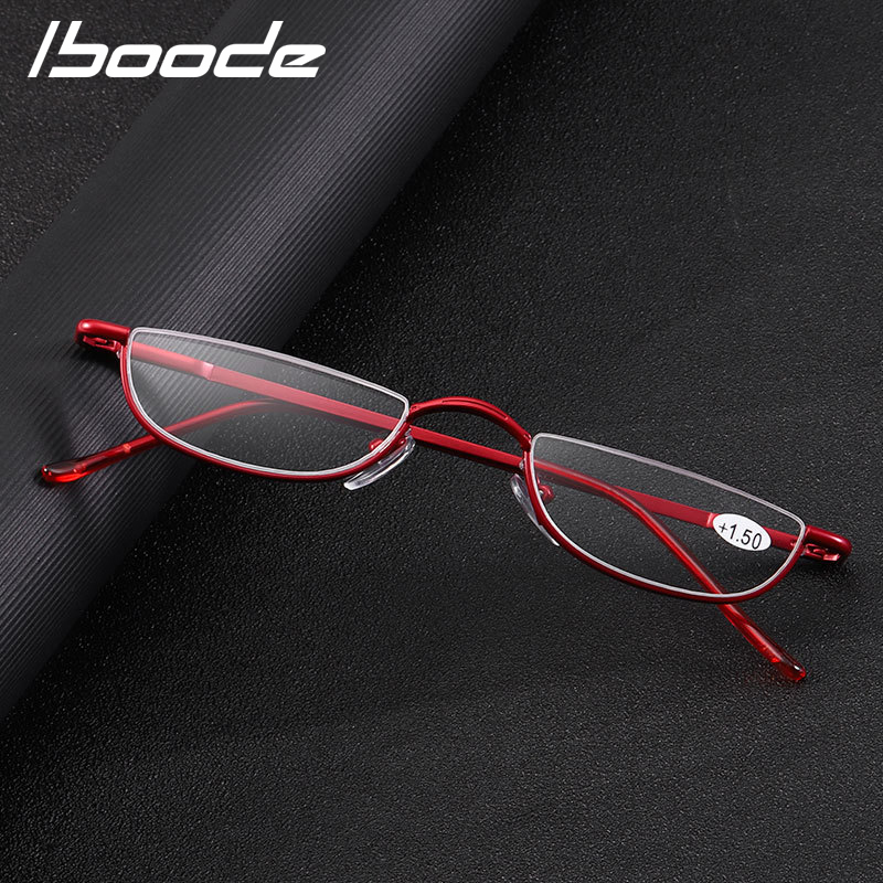 Iboode Cat Eye Reading Glasses Women Men Metal Half Frame Presbyopic Eyeglasses Female Male Semi Rimless Hyperopia Spectacles