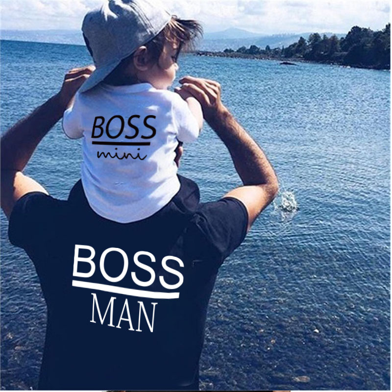 Family Matching Outfits Father And Son BOSS Pattern Family T Shirt Father Son Cotton Short Sleeved T Shirt Dad And Me Clothes
