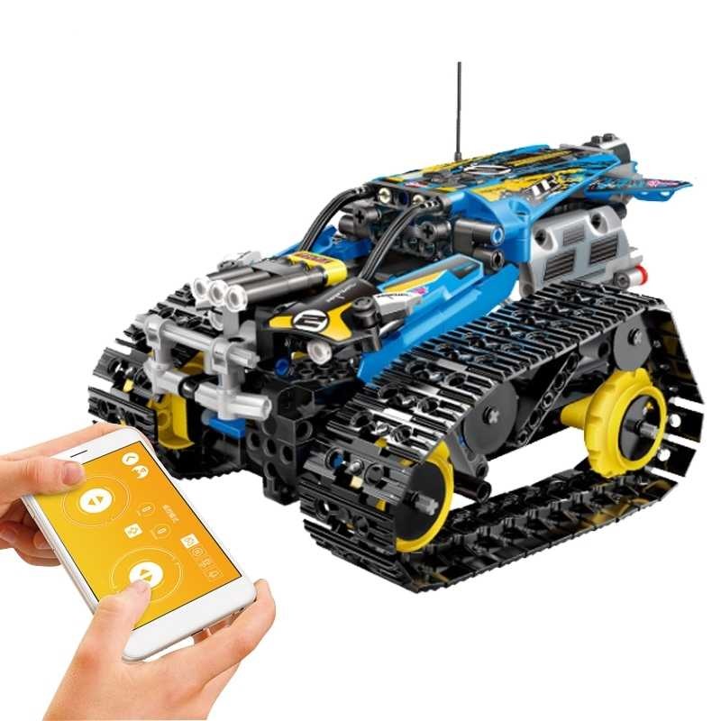 391Pcs Lockings City Technic Tracked vehicle Stunt Blue Super Racing Car Electric APP RC Model Building Blocks Birthday Lockings