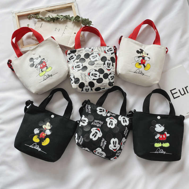 Disney cartoon cute Mickey mouse diagonal shoulder bag portable Korean canvas small bag  kid girls coin bags