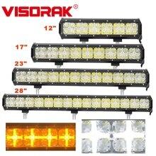 VISORAK 12 17 23 28 White/Amber DRL Offroad LED Light Bar Truck ATV For SUV 4WD 4x4 Car Vehicles