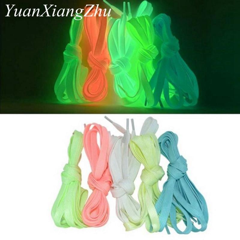1 Pair Luminous Shoelaces Flat Sneakers Canvas Shoe Laces Glow In The Dark Night Color Fluorescent Shoelace 80/100/120/140cm 3