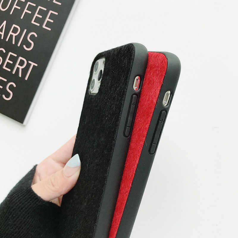 แฟชั่น Mink Plush ซิลิโคนสำหรับ iPhone 11 PRO MAX 2019 สำหรับ iPhone XR XS X 6 6S 7 8 PLUS 6Plus โทรศัพท์มือถือกรณี