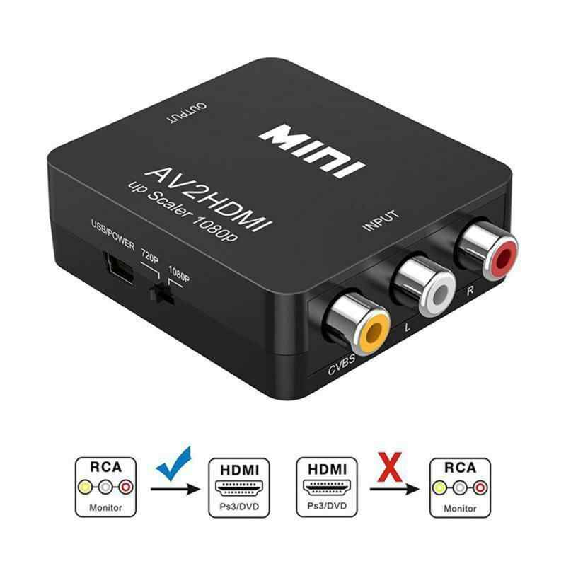 1080P Mini RCA To HDMI AV Composite Adapter Converter Audio Video Cable CVBS AV Adapter Converter for HD TV with USB Cable