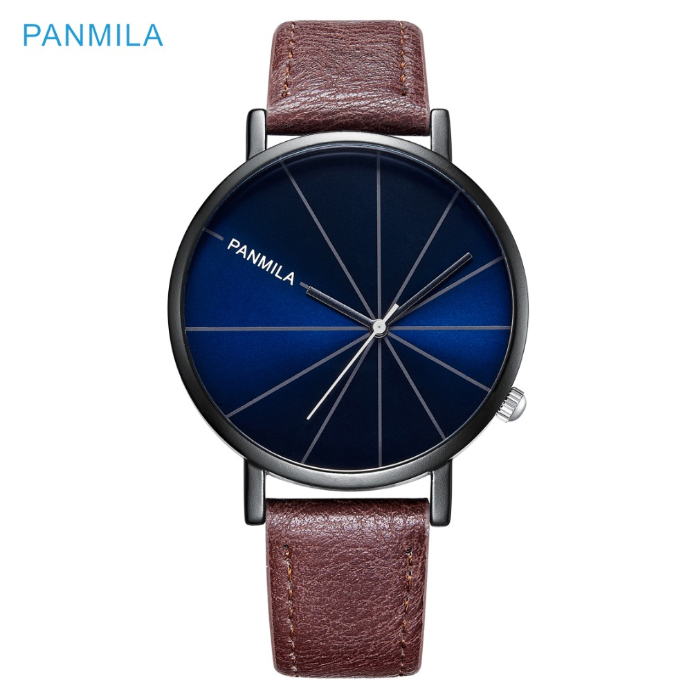 PANMILA Brand New Creative Dial Couple Casual Business Quartz Watches Men Women Student Leather Strap Watch