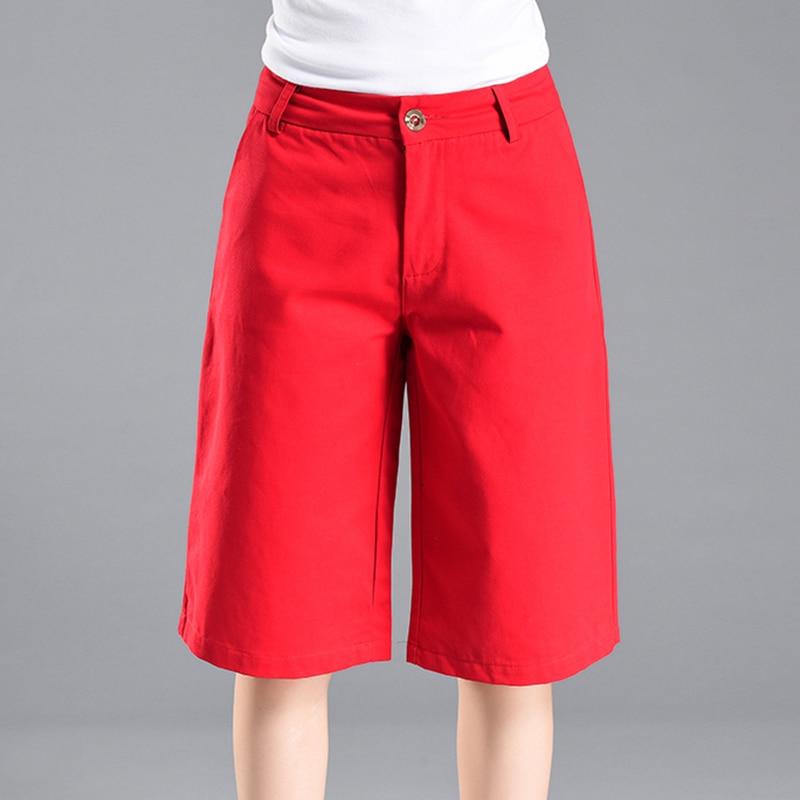 Knee Length Newest Casual Solid Wide Leg Shorts Women High Waist Shorts Lady Summer High Waist Wide Leg Half Long Shorts Woman