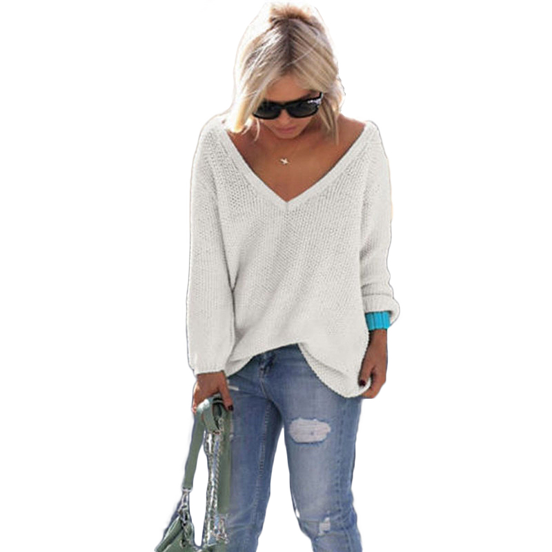 Knitted Sweater Women V-Neck Sexy Korean Clothes Women Simplee Apparel Long-Sleeve Warm Tops Pullover Winter Women Loose Sweater