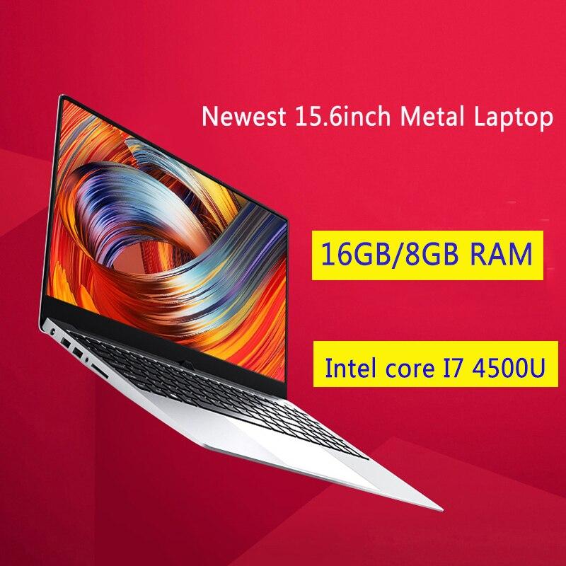 Concha de metal 15.6 Polegada intel i7 4500u portátil 8g 16g ram ssd 1080 p notebook dupla banda wifi layout completo teclado retroiluminado para escritório