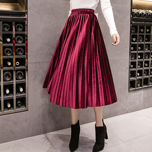 Autumn Winter Velvet Skirt High Waisted Skinny Large Swing Long Pleated Skirts Metallic Plus Size 3XL Midi Saia 5
