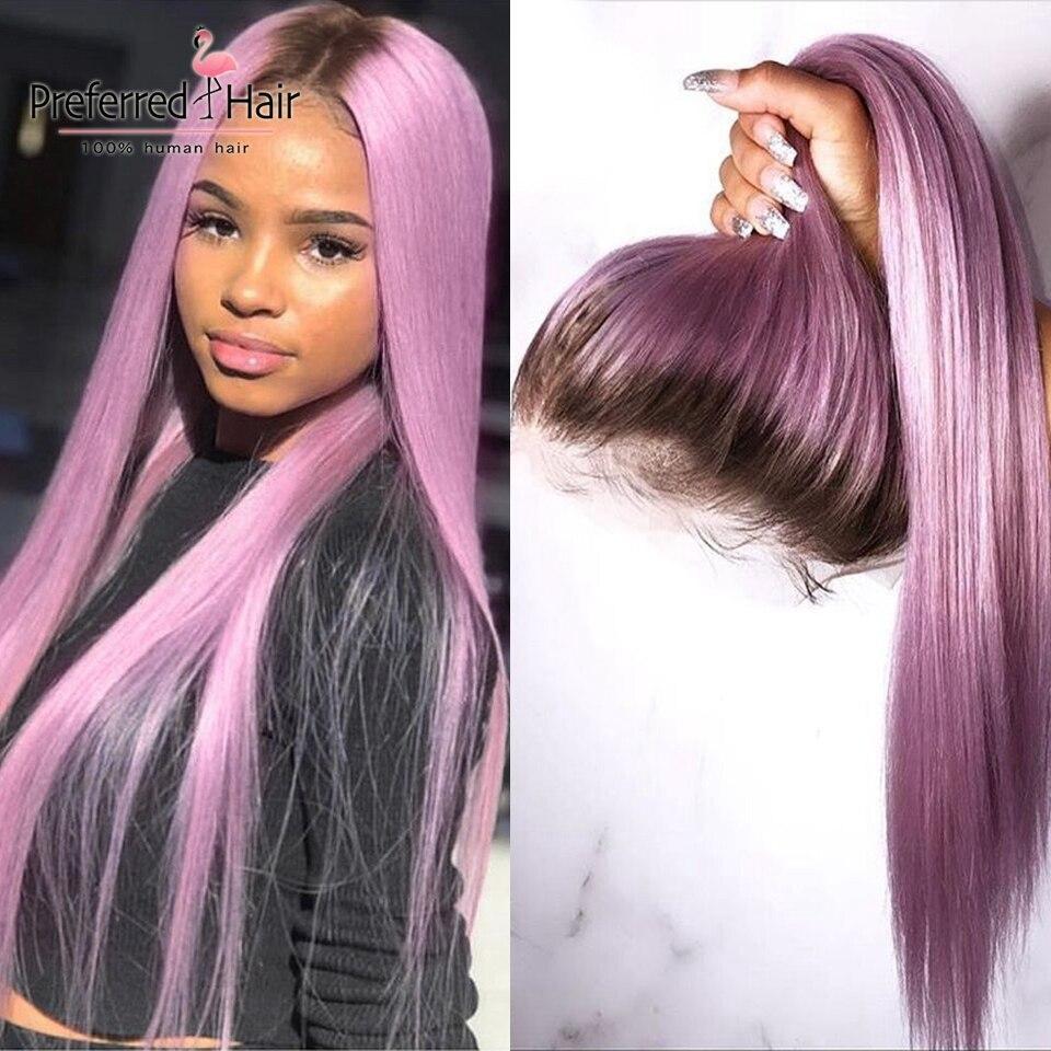 Предпочтительный Омбре розовый человеческие волосы парик Фиолетовый прямой кружевной передний парик с детскими волосами бразильские Remy прозрачные кружевные парики для женщин - 5