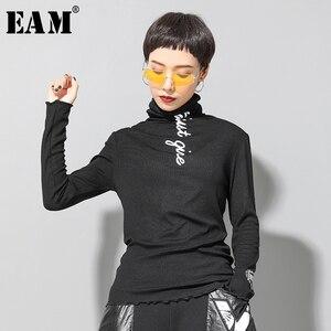 [EAM] Women Letter Printed Brief Temperament T-shirt New High Collar Long Sleeve Fashion Tide Spring Autumn 2020 1H109