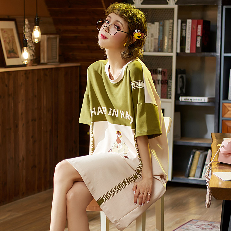 Nightgown Women's Pure Cotton Thin Type For Spring And Autumn Full Body Dress Summer Mid-length Short Sleeve Large Size Fat Mm W