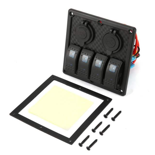 US $15 22 20% OFF|5 PIN 4 Gang Waterproof RV Car Marine Boat Circuit  Breaker LED Rocker Switch Panel Dual USB Charger Cigarette Socket-in Car  Switches