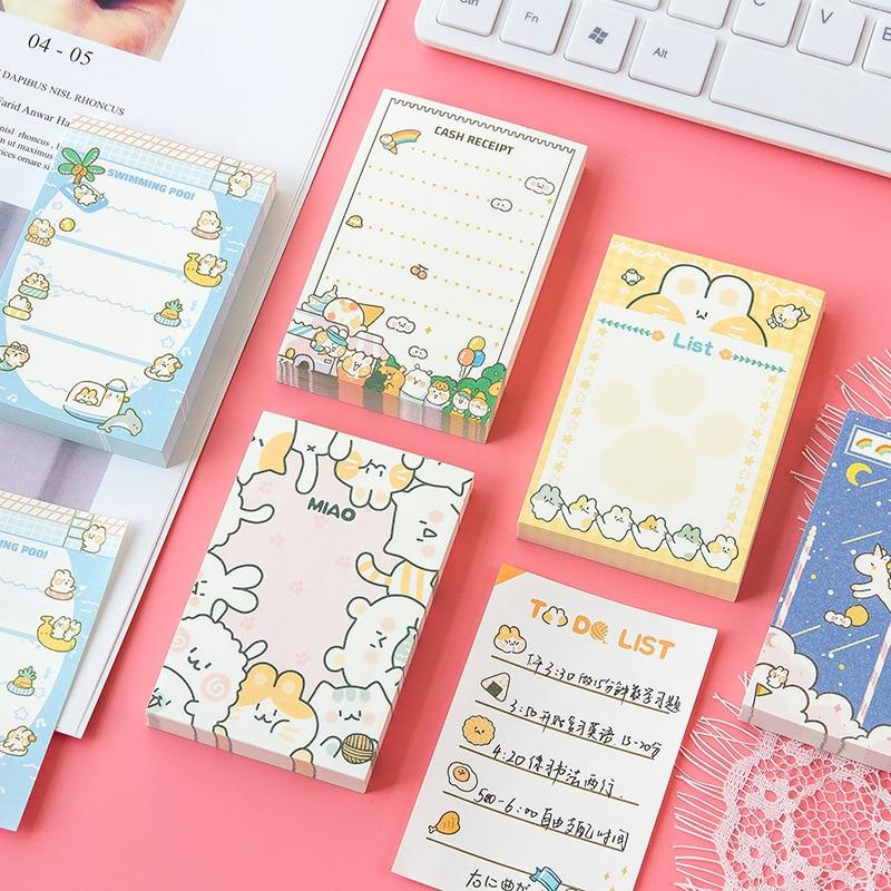 100 folhas Bonito dos desenhos animados gato Unicórnio Sticky Notes Memo Pad Diário Estacionário Flocos Decorativos Recados Para fazer A lista N Vezes pegajoso