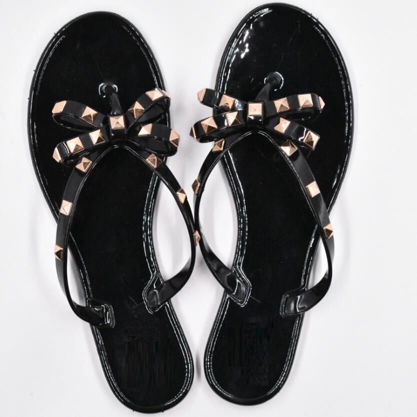 Hd66d375bfd394c70bcf71e7f1938658aX - Hot Fashion Woman Flip Flops Summer Shoes Cool Beach Rivets big bow flat sandals Brand jelly shoes sandals girls size 36-41