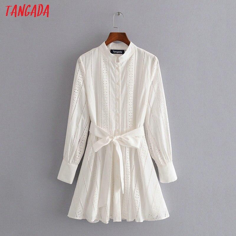 Angada Women White Embroidery Shirt Dress With Slash Long Sleeve 2020 New Females Mini Dresses Vestidos 3H104