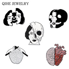Punk Cold Women Skull Enamel Pins Human Heart Brain Organ Skeleton Brooches Pins Set Gothic Halloween Badge Jewelry(China)