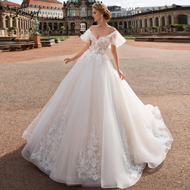Traugel V Neck A Line Lace Wedding Dresses Applique Off Shoulder Backless Flower Bride Dresses Long Train Bridal Gown Plus Size 1
