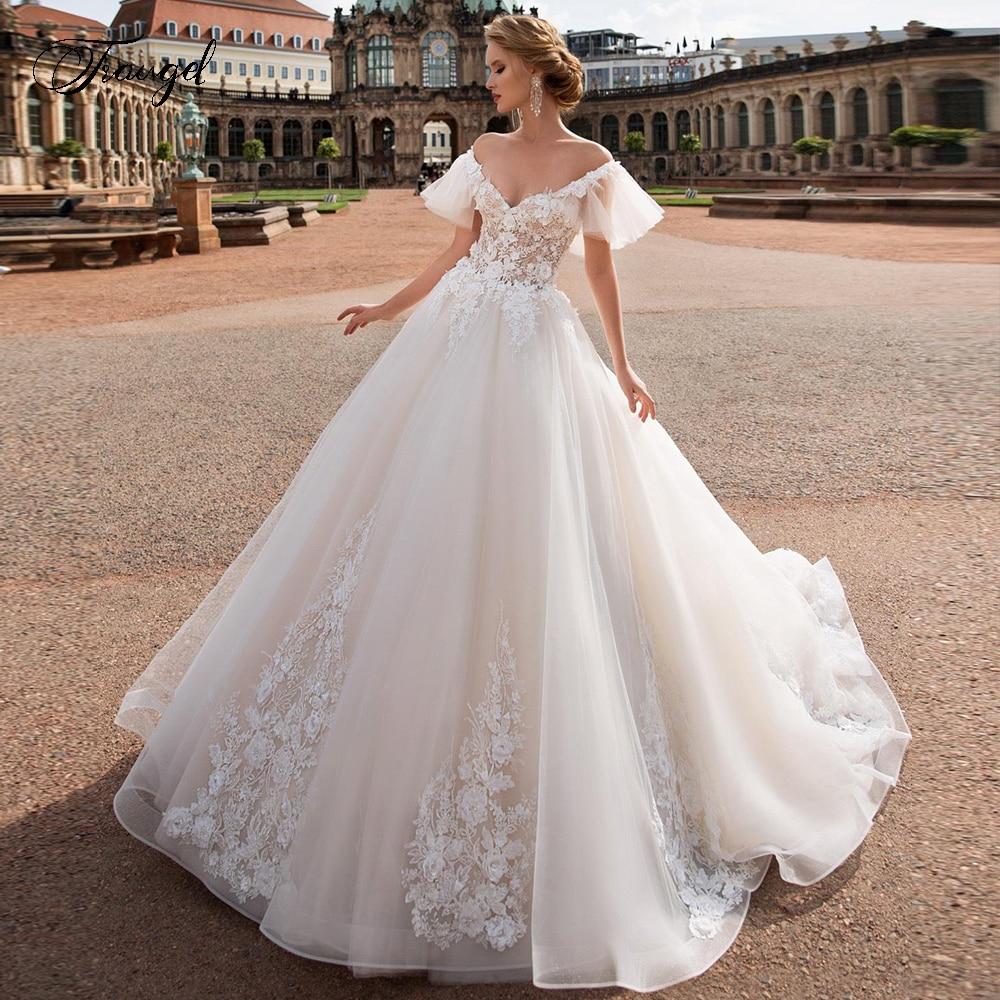 Traugel V Neck A Line Lace Wedding Dresses Applique Off Shoulder Backless Flower Bride Dresses Long Train Bridal Gown Plus Size