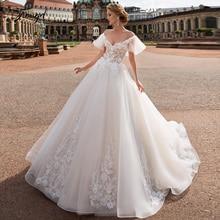 Traugel v neck a linha de renda vestidos de casamento applique fora do ombro sem costas vestidos de noiva longo trem vestido de noiva mais tamanho