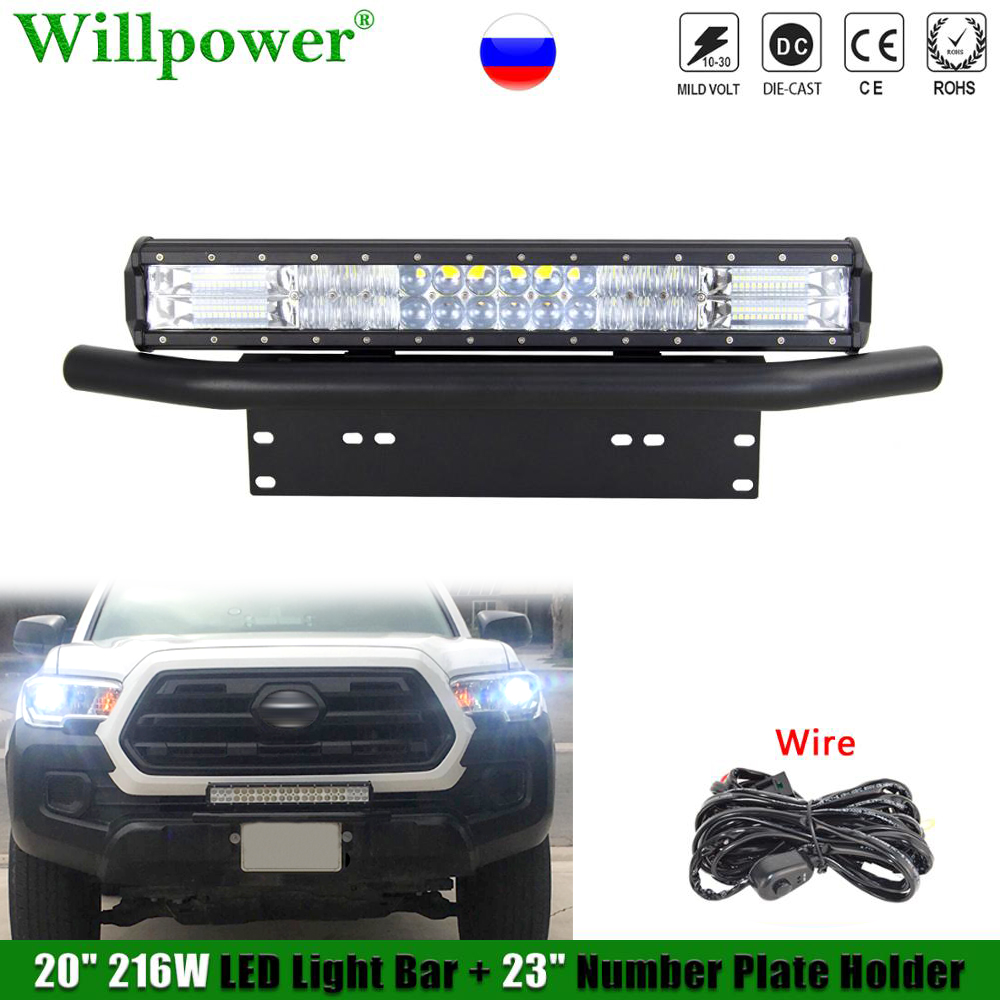 """1 zestaw Auto Car 216W 20 """"6D listwa świetlna LED w/uchwyt tablicy rejestracyjnej LED zaczep na lampę uchwyt Bullbar Offroad 4X4 ciężarówka SUV Pickup"""