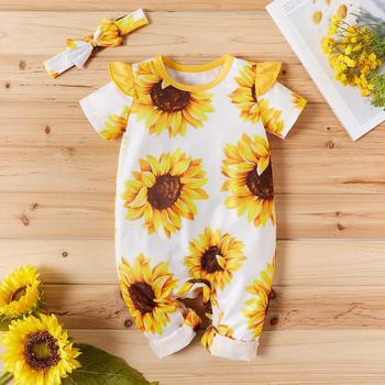 Newborn Kids Girl Jumpsuit Baby Girl Clothes Print Sunflower Long Romper Playsuit Outfit  Baby Clothes цена 2017