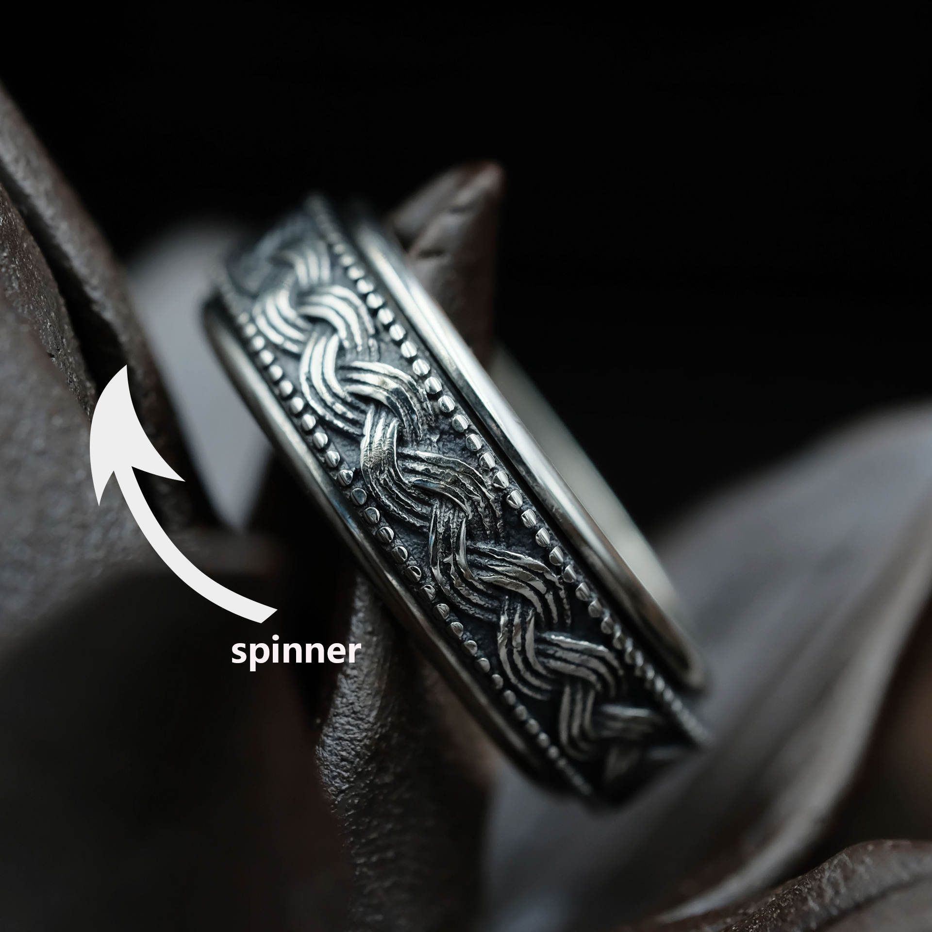 925 Sterling Silver Rings for Man Tibetan Silver Outside Rotatable Rings Wave Man Rings S925 Sterling Silver Spinner Ring