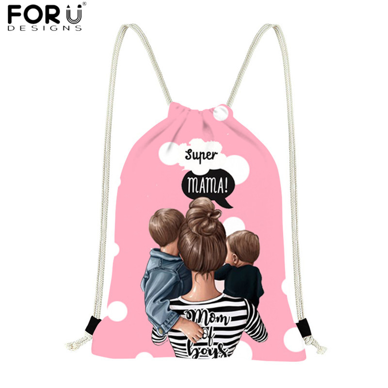 FORUDESIGNS Multicolor Polyester Drawstring Bags Black Girl Baby Women Mom Mochila Feminina Reusable Beach Bag For Ladies Sack