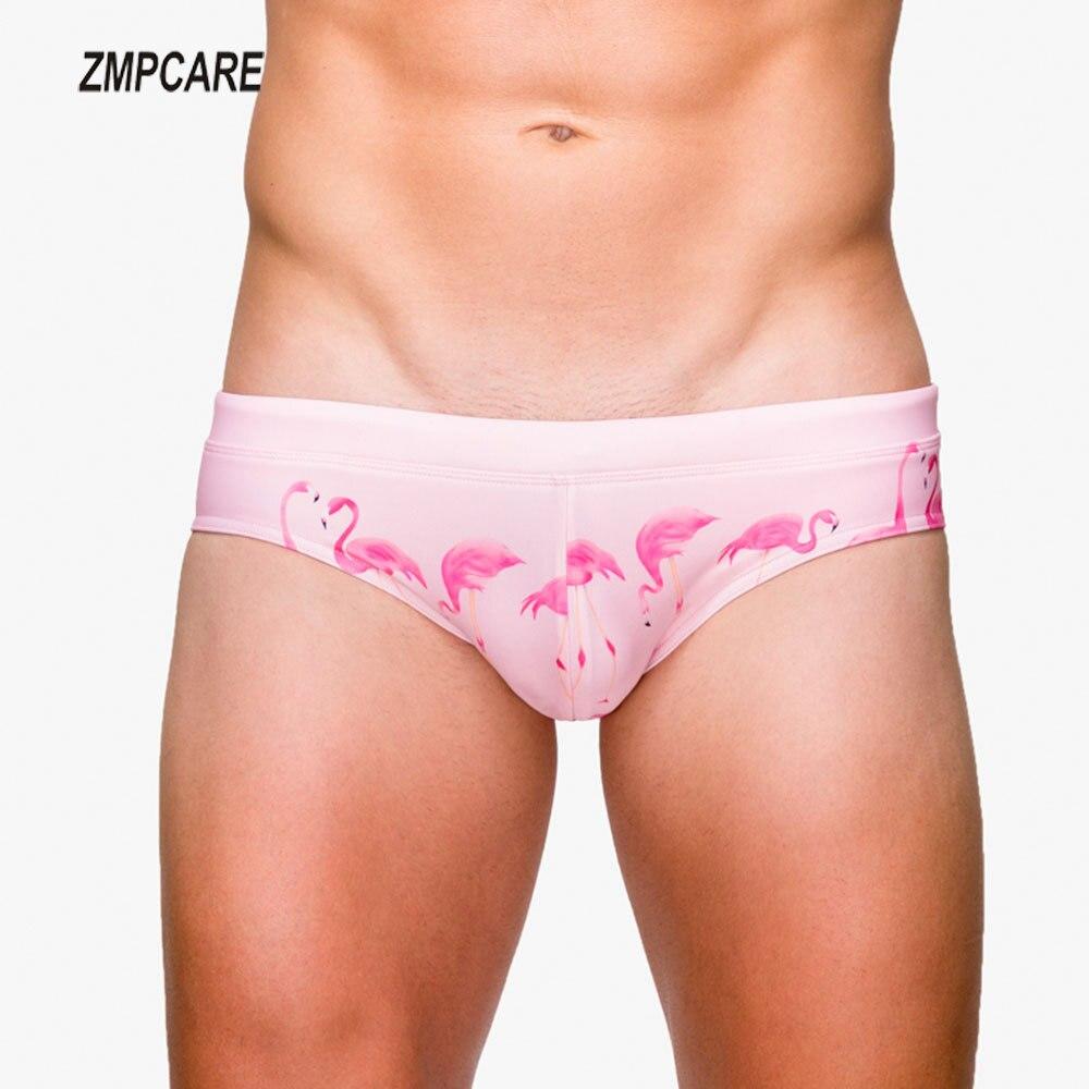 New Flamingo Swimwear Men Swim Trunks Brief Waterproof Swimming Trunks For Bathing Suit Mens Swimwear Beach Men Gay Swimsuit