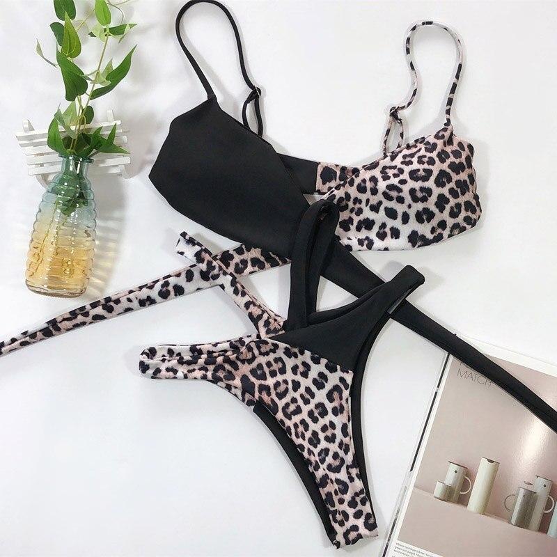 2020 Sexy Women High Waist Bikini Swimsuit Swimwear Female Bandeau Thong Brazilian Biquini Bikini Set Bathing Suit Bather 5