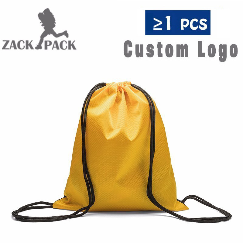 Купить с кэшбэком 10PCS Drawstring Bag Waterproof Sack Customize Logo Oxford Backpack Nylon Rope Women Small Sports Storage Bags