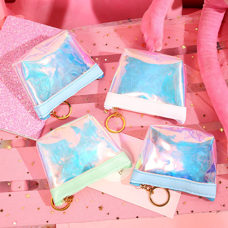 Hot Selling Soft Pink GIRL'S Heart Purse Transparent Laser Jelly Simple Wrist Bag Data Cable Headset Waterproof Storgage Bag