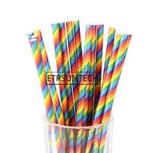 10000pcs Disposable Drinking Straws Rainbow Stripe Drinking Paper Straw For Wedding Children Birthday Party Supplies Decorations