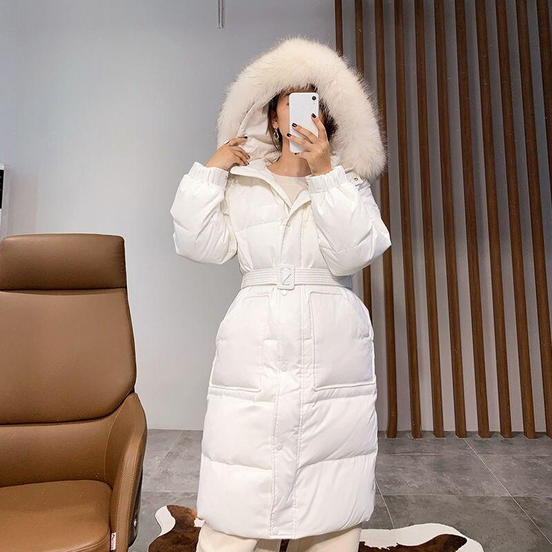 Черный, белый, женский пуховик с поясом, с капюшоном, с меховым воротником, белая куртка пуховик на утином пуху, женское длинное теплое зимне