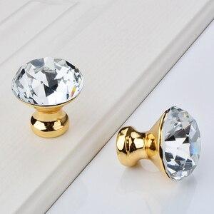 Image 2 - ダイヤモンドクリアクリスタルガラス引き出しキャビネット家具アクセサリーハンドルつまみねじ世界