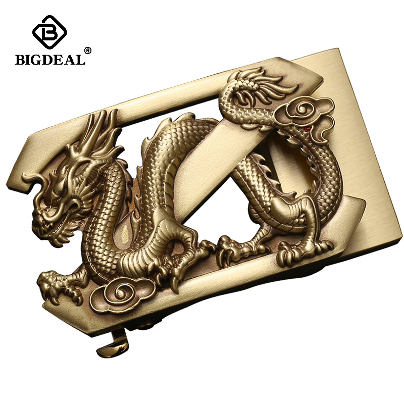 Top Cow Skin Genuine Leather Belts For Men Solid Brass Buckle Men Belt Dragon Automatic Buckle Vintage Strap 3.5cm Accessories