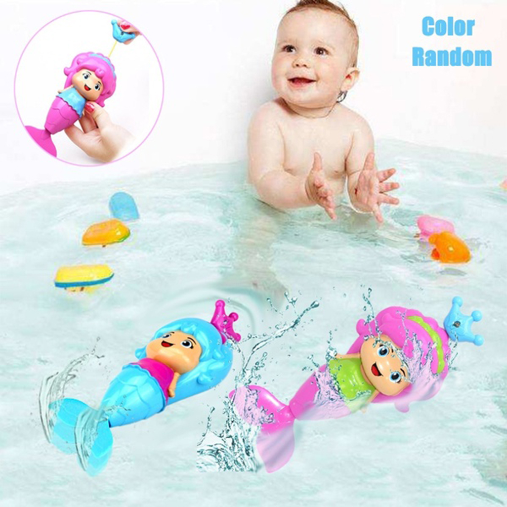 Bath Tub Fun Swimming Baby Bath Toy Mermaid Wind Up Floating Water Toy For Kids Kids Interactive Fun Water Toys Gift #30(China)