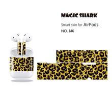 Magic Shark Luxe Leopard Snake Leather Print Case Cover Skin Wrap Film Pvc Sticker Voor Apple Airpods 146-155(China)