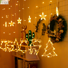 Merry Christmas Ornaments Star Elk Led String Lights 2019 Decoration For Home Xmas Gift Tree Decor Cristmas