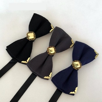 2020 New Fashion Men's Bow Ties Wedding Double Fabric Cotton Solid Color Bow Tie Banquet Formal Suit Butterfly Tie with Gift Box