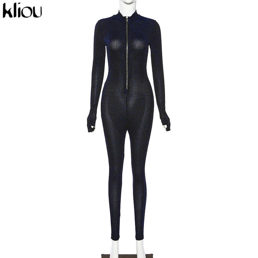 Kliou 2020 Vrouw Elegante Doorschijnende Slanke Fonkelende Elastische Jumpsuit Lente Casual Rits Bodysuit High Street Party Body Mujer