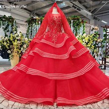 HTL834 muslim wedding gowns long sleeves beading appliques o-neck red wedding dress with bridal veil ball gown vestido festa(China)