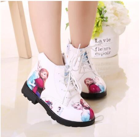 Autumn Winter Kids Baby Girls Snow Queen Pu Leather Boots Casual Shoes Fashion  Cartoon Boots For Girls School Shoes EU 26-36