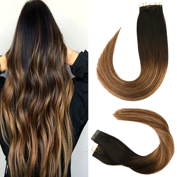 цена на Toysww Tape in Human Hair Extension Balayage Color #1B 5 28B Skin Weft Straight Remy Hair Adhesive Tape Hair Extension