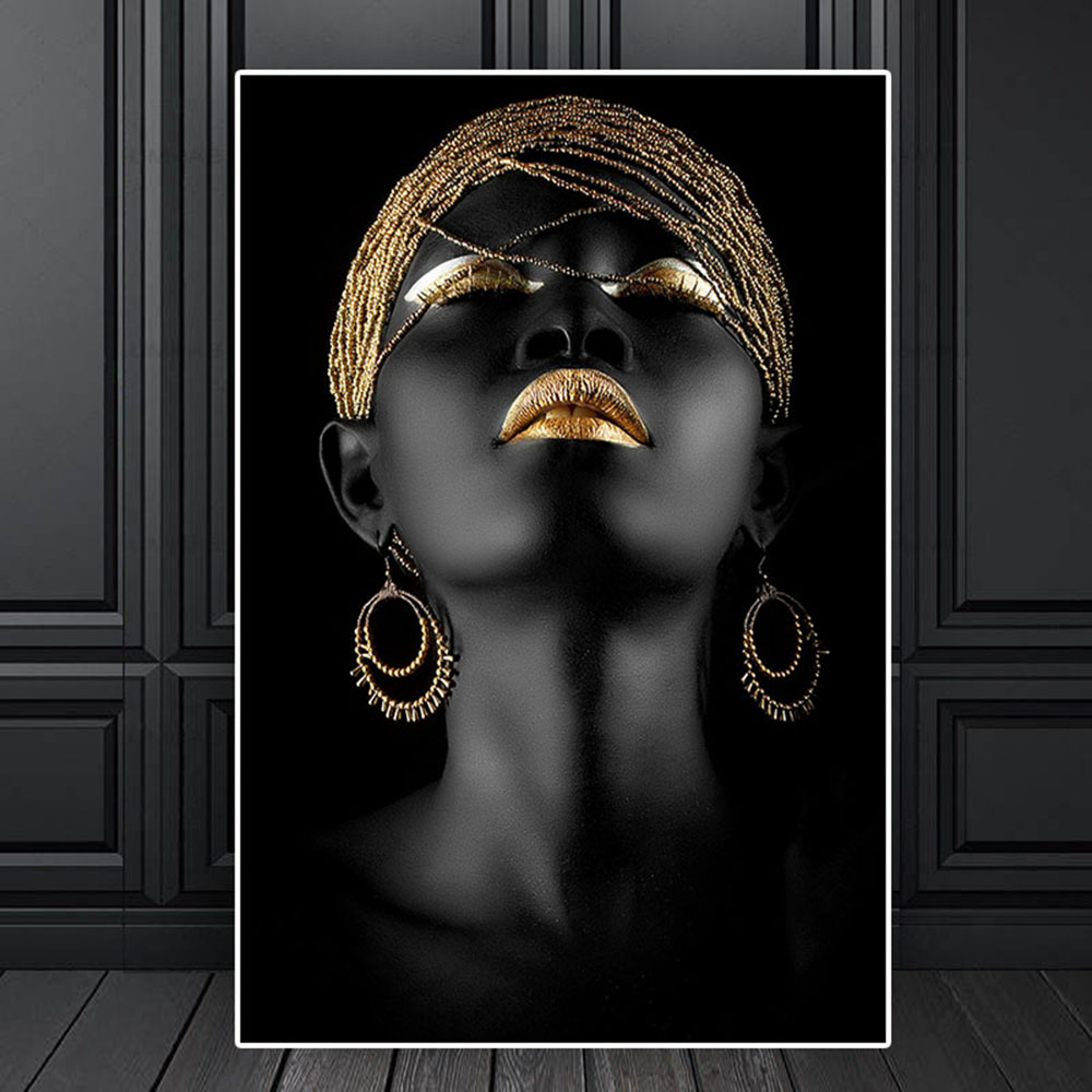 Modern Canvas Prints Black Woman Model Painting Wall Art Poster And Prints Pictures Home Decoration For Living Room No Frame