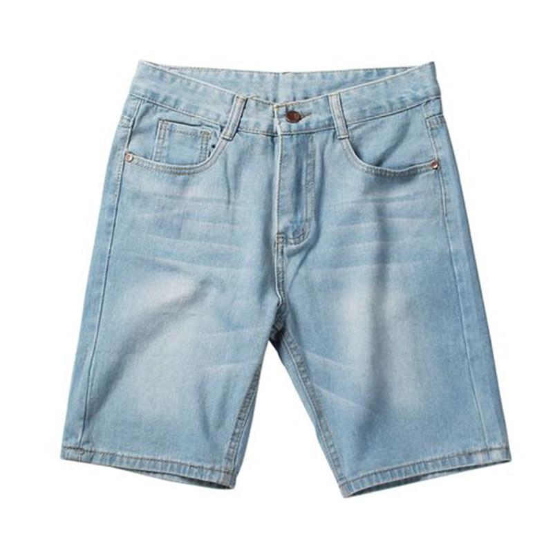 Casual summer hot sale Men's Denim   Shorts   Good Quality   Short   Jeans Men Cotton Solid Straight   Short   Jeans Male Blue Casual   Short