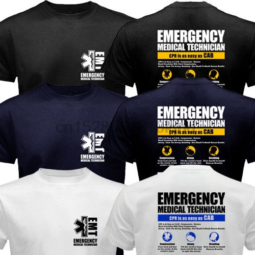 Emt Emergency Medical Technician Service Ems Paramedic Cpr First Rescue T-Shirt(China)
